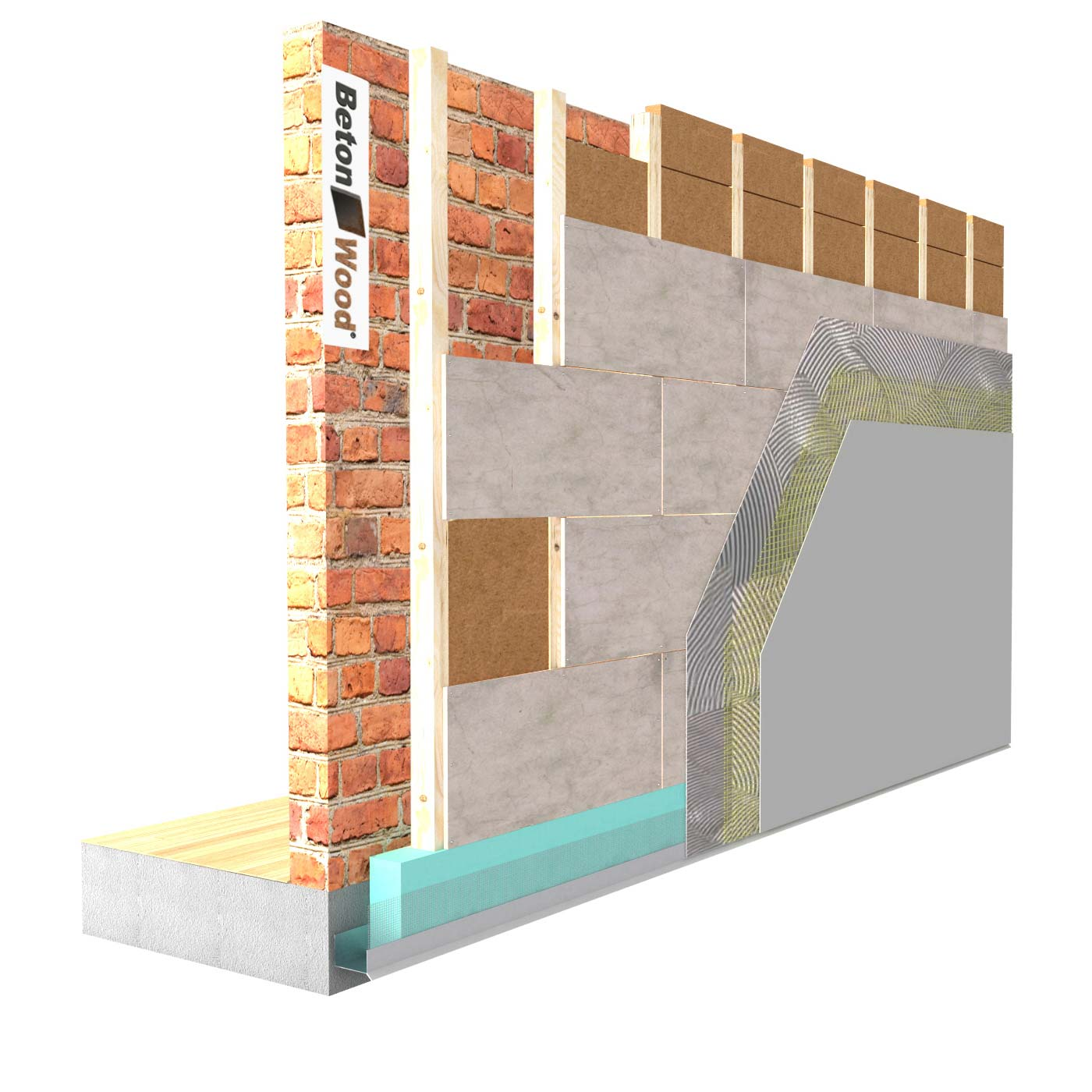 External insulation system with Fiber Wood FiberTherm and cement bonded particle board on masonry