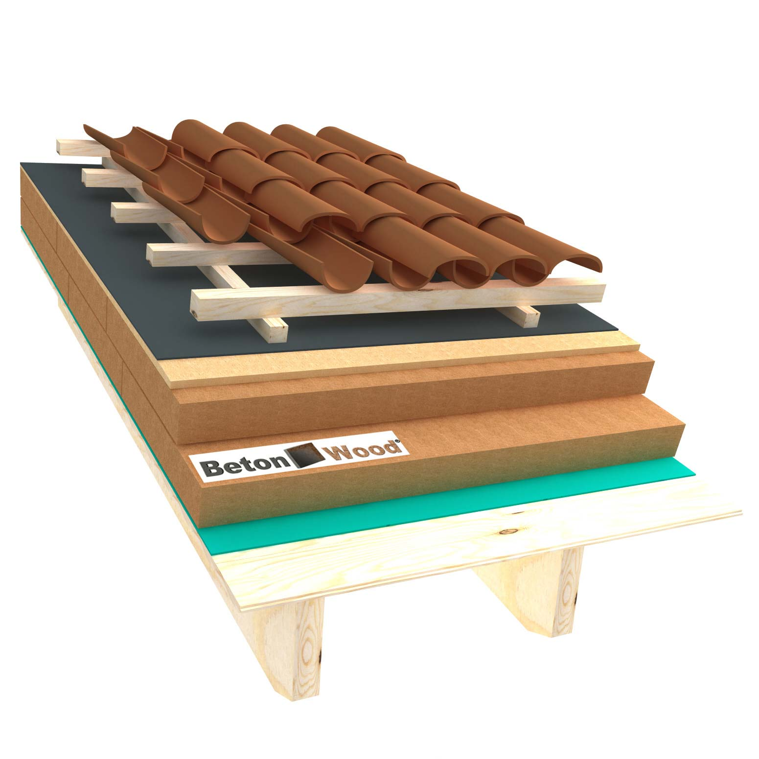 Ventilated roof with wood fibre board Isorel and Special on matchboarding