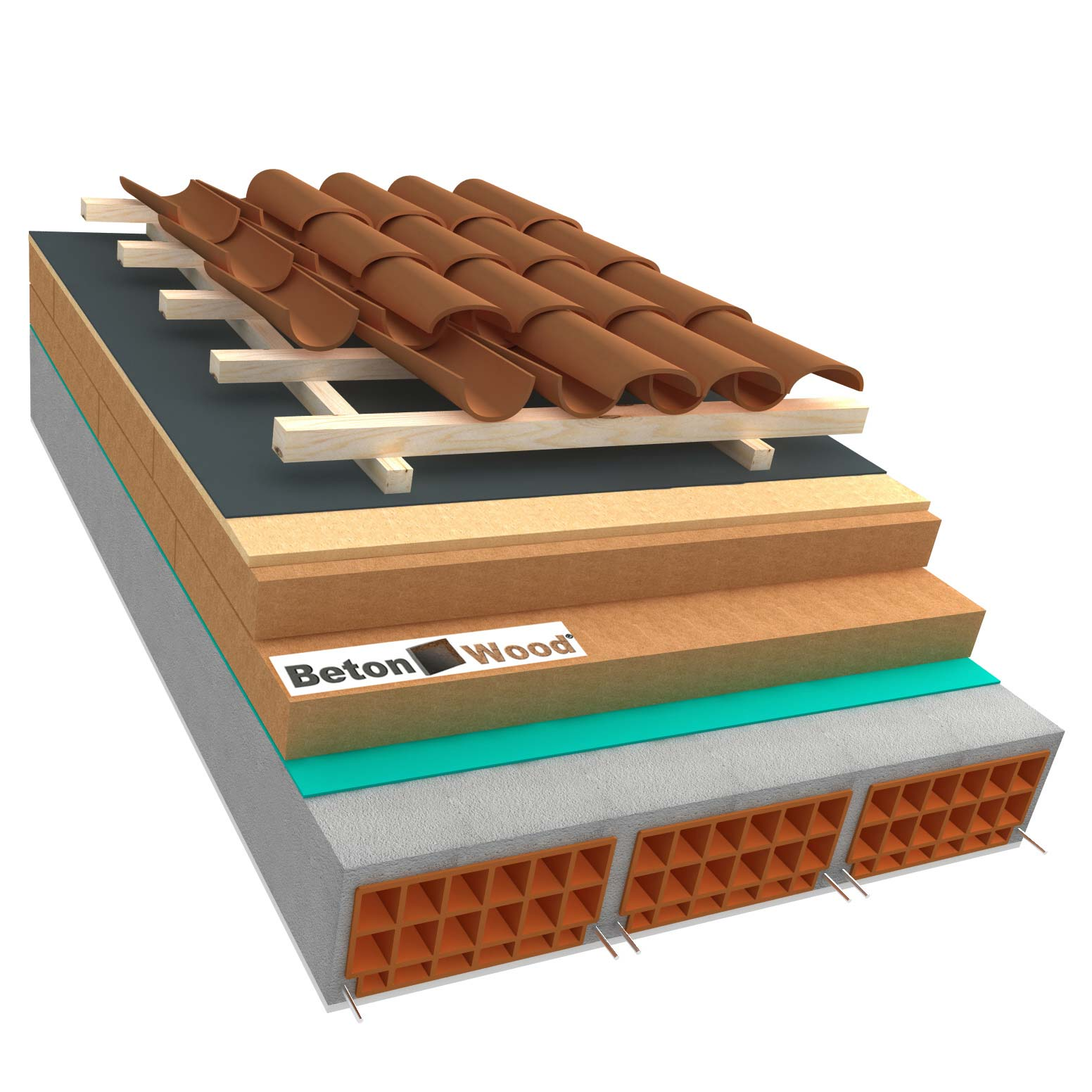 Ventilated roof with wood fibre board Isorel and Special on concrete