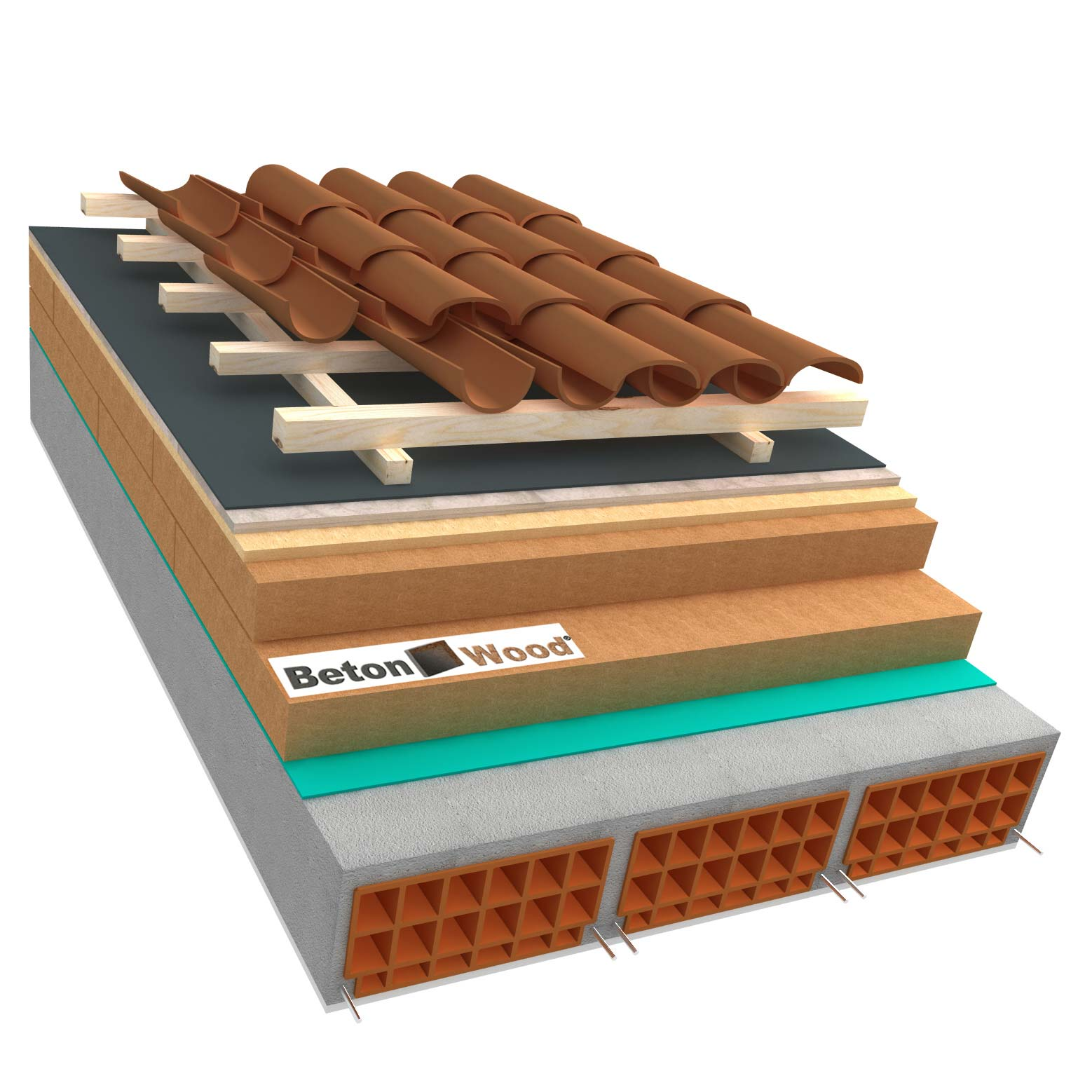 Ventilated roof with wood fibre board Isorel, Special and cement bonded particle boards on concrete