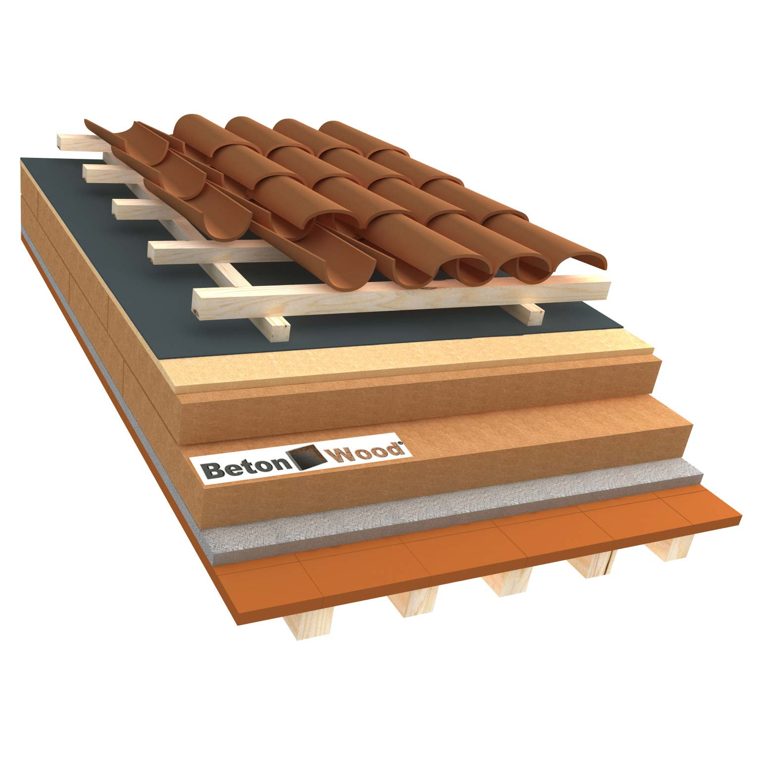 Ventilated roof with wood fibre board Isorel and Special on terracotta tiles