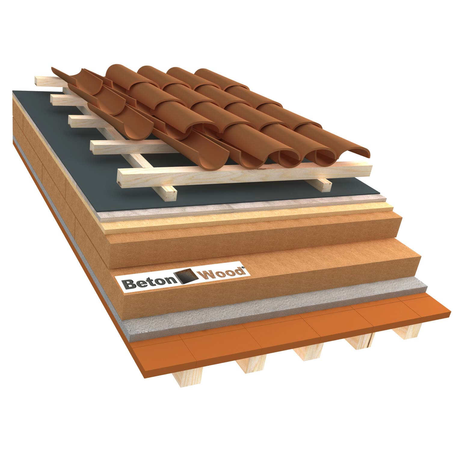 Ventilated roof with wood fibre board Isorel, Special and cement bonded particle boards on terracotta tiles