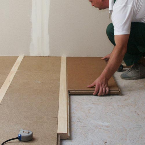 Wood fibre board FiberTherm Floor flooring system installation